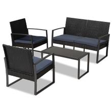 See Details - Baxton Studio Greta Modern and Contemporary Dark Blue Fabric Upholstered and Black Finished Metal and Synthetic Rattan 4-Piece Patio Set