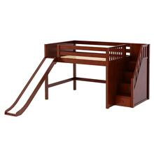See Details - Mid Loft Bed w/Staircase on End and Slide : Full : Chestnut : Panel