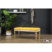 Habit Solid Wood Yellow Button Tufted Dining Bench