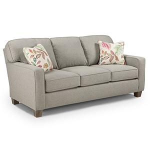 Best Home Furnishings - Annabel Sofa in Fog with 2 pilows in Porcini
