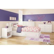 Mate's Platform Storage Bed with 2 Drawers - Pure White