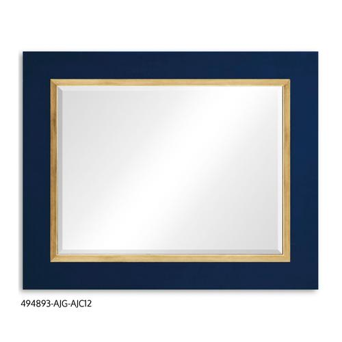 """Teal Homespun"" mirror (Royal Navy/Gold)"