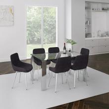 Frankfurt/Cassidy 7pc Dining Set, Chrome/Black