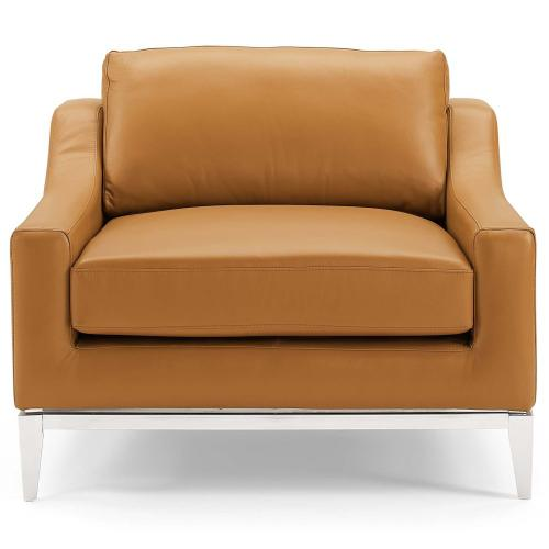 Harness Stainless Steel Base Leather Armchair in Tan