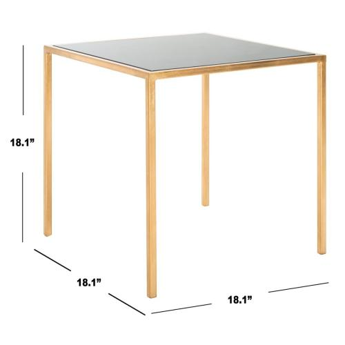 Product Image - Kiley Gold Leaf Mirror Top Accent Table - Gold / Black