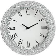 """20"""" X 2"""" X 20"""" Mirrored And Faux Crystals Analog Wall Clock"""