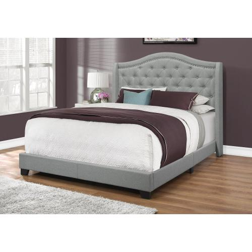 Gallery - BED - QUEEN SIZE / GREY LINEN WITH CHROME TRIM