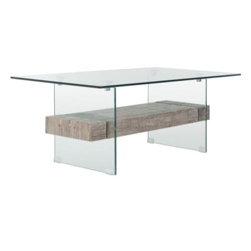 Safavieh - Kayley Glass Coffee Table - Glass / Grey Oak
