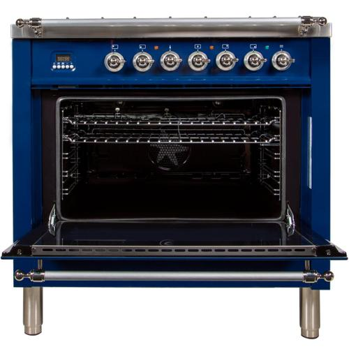 Nostalgie 36 Inch Dual Fuel Natural Gas Freestanding Range in Blue with Chrome Trim
