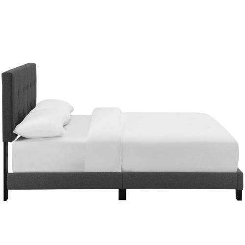 Amira Twin Upholstered Fabric Bed in Gray