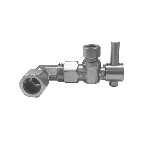 """Tristan Brass - Quarter Turn Angle Pattern 1/2"""" IPS x 3/8"""" O.D. Supply Valve with Contempo Lever Handle For Skirted Toilet"""