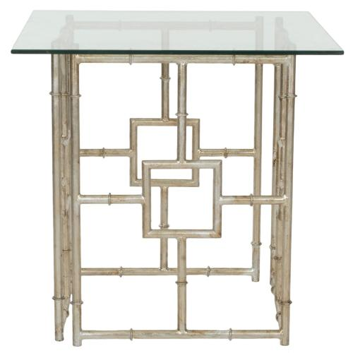 Dermot Glass Top Accent Table - Silver / Clear