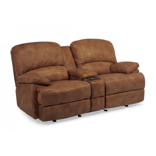 Product Image - Dylan Leather Power Reclining Loveseat with Console and Chaise Footrests