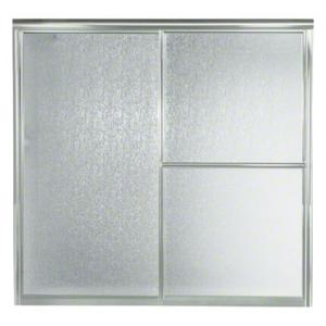 """Deluxe Sliding Bath Door - Height 56-1/4"""", Max. Opening 59-3/8"""" - Silver with Rain Glass Texture Product Image"""