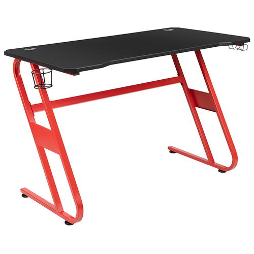 Gallery - Red Gaming Desk and Black Reclining Gaming Chair Set with Cup Holder and Headphone Hook