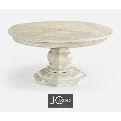 "59"" White Wash Driftwood Circular Dining Table with Self-Storing Leaves"