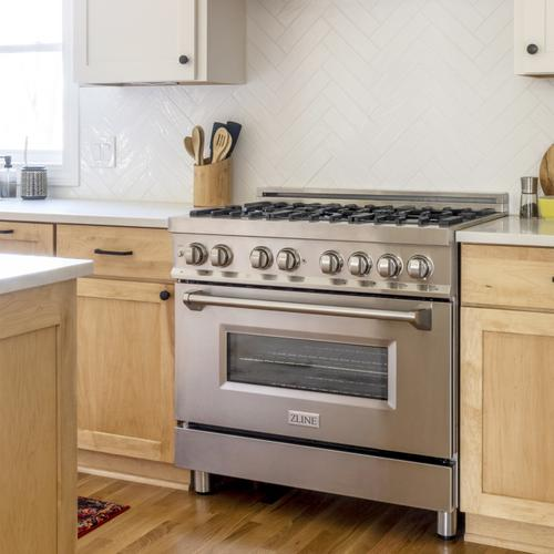"""ZLINE 36"""" Professional Dual Fuel Range in Stainless Steel with Color Door Options (RA36) [Color: Stainless Steel]"""