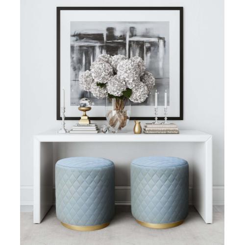 Product Image - Abir Light Blue Velvet Ottoman