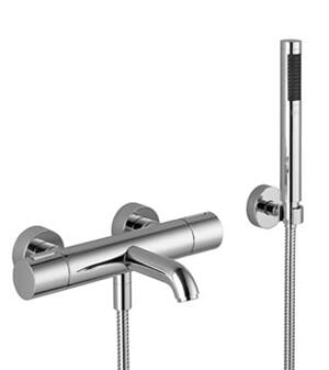 Tub thermostat for wall-mounted installation with hand shower set - chrome Product Image