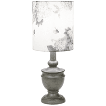See Details - Distressed Grey Accent Lamp with Floral Shade. 40W Max.