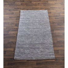 Hand Woven Blue & Grey Space Dyed 5' x 8' Reversible Rug