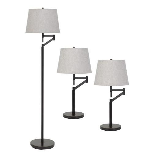 Cal Lighting & Accessories - 3 Pcs Package, 2 X Swing Arm Table Lamp And 1X Swing Arm Floor Lamp All in One Box