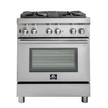 "30"" Gas Range with 240 Volt Electric Oven Dual Fuel Free-Standing Pro-Style Range 304 / 430 Stainless Steel Design FFSGS6188-30"