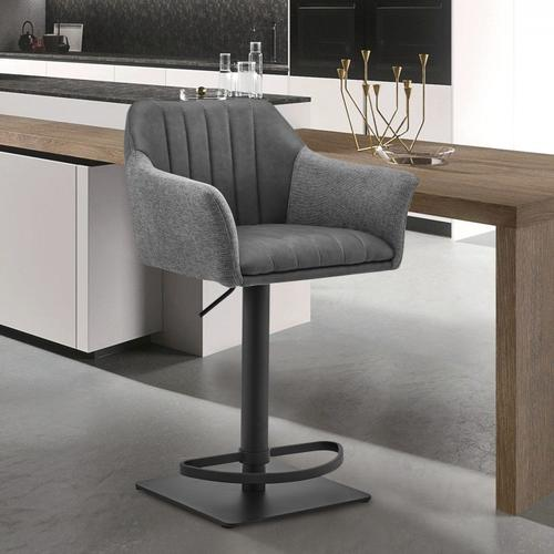Armen Living - Erin Adjustable Grey Faux Leather and Fabric Metal Swivel Bar Stool