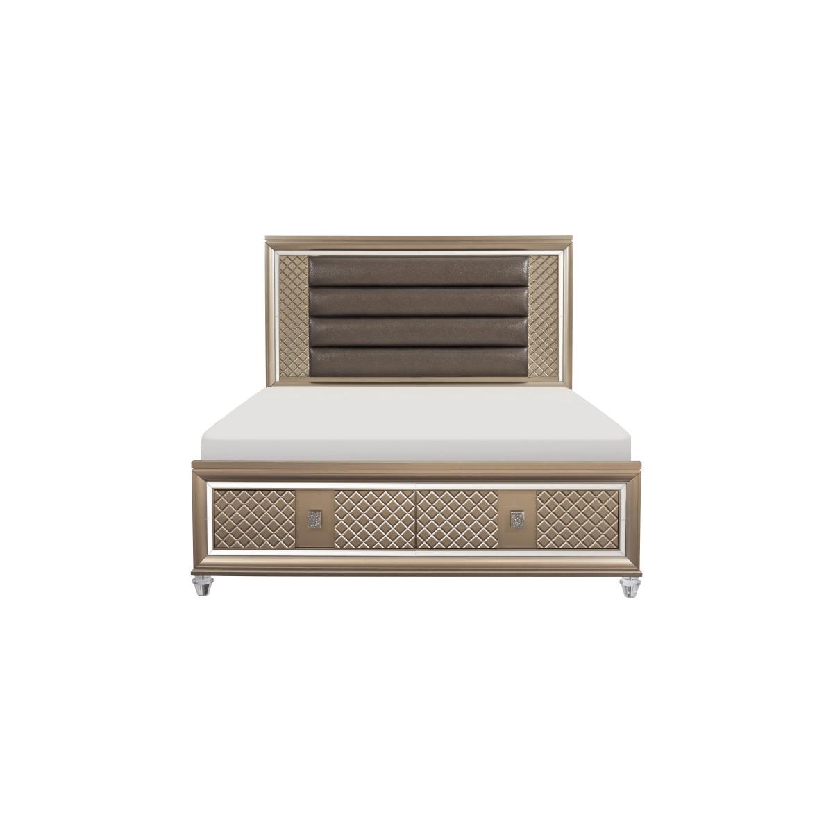 Queen Platform Bed with LED Lighting and Storage Footboard