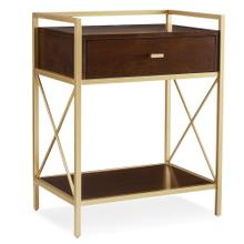 Gold Metal and Wood Night Stand/Side Table with Top AC/USB Charging #9069-WA