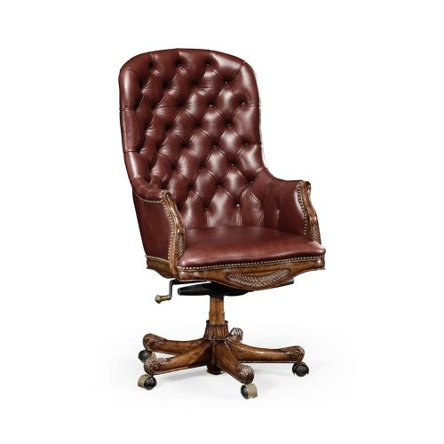 Chesterfield Style High Back Mahogany Office Chair, Upholstered in Rich Red Leather