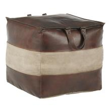 Cobbler Pouf - Espresso Leather, Tan Canvas