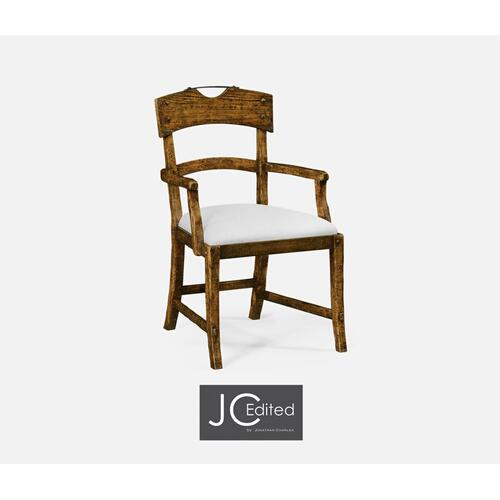 Planked Country Walnut Armchair, Upholstered in COM
