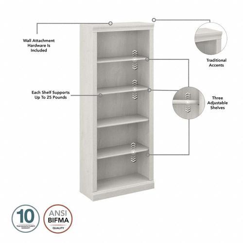 Saratoga Tall 5 Shelf Bookcase - Linen White Oak