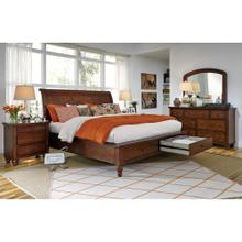 Queen Cherry Sleigh Platform bed w/ Storage Drawers