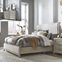 King California Upholstered Bed, Dresser & Mirror