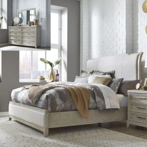 King California Upholstered Bed, Dresser & Mirror
