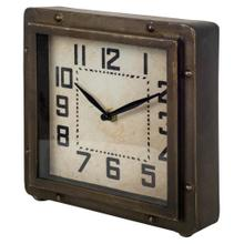 See Details - Redding Bronze Toned Metal Square Table Clock