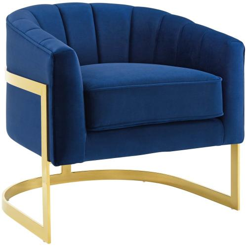 Esteem Vertical Channel Tufted Performance Velvet Accent Armchair in Navy