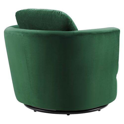 Pirouette Performance Velvet Swivel Armchair in Emerald