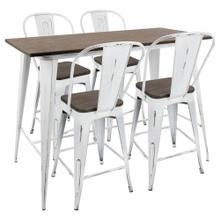See Details - Oregon High Back Counter Set - Vintage White Metal, Espresso Bamboo