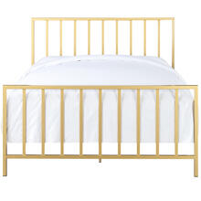 Slat Style Queen Metal Bed in Brushed Gold