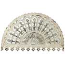 Distressed Ivory Arched Filigree Overlay Wall Mirror Product Image