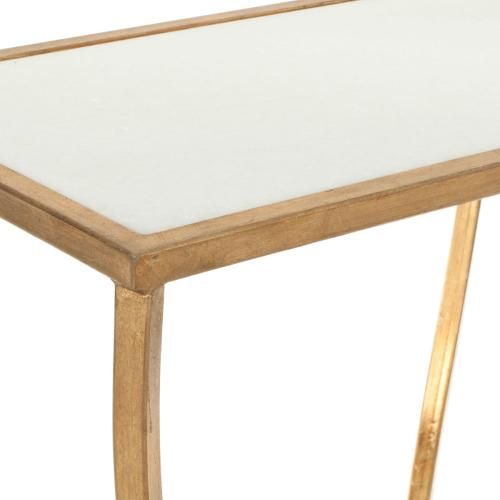 Rex Glass Top Gold Foil Accent Table - White / Gold