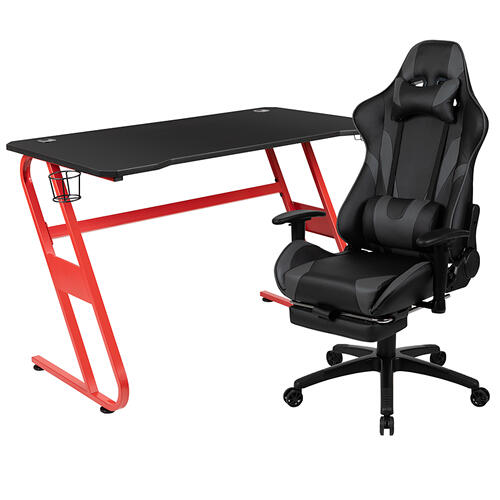 Gallery - Red Gaming Desk with Cup Holder\/Headphone Hook & Gray Reclining Gaming Chair with Footrest