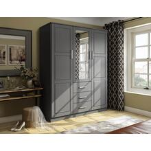7115 - 100% Solid Wood Cosmo Wardrobe with Mirrored Door, Gray