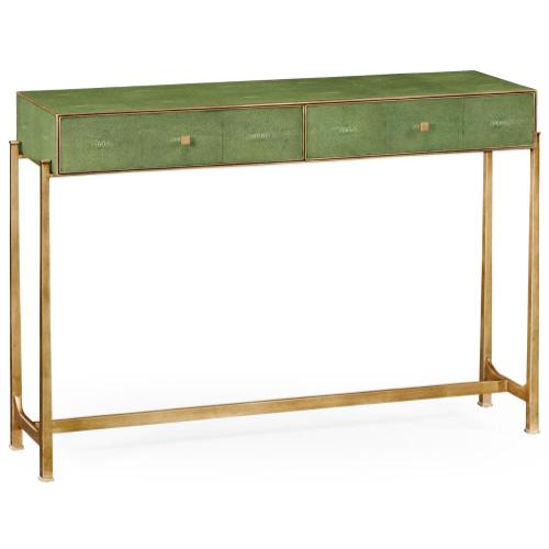 Green faux shagreen gilded console