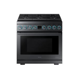 "Samsung6.3 cu. ft. 36"" Chef Collection Professional Dual Fuel Range in Black Stainless Steel"