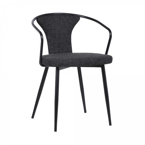 Armen Living - Francis Contemporary Dining Chair in Black Powder Coated Finish and Black Fabric
