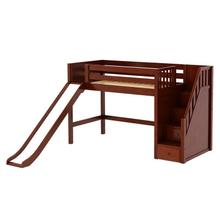 See Details - Mid Loft Bed w/Staircase on End and Slide : Twin : Chestnut : Panel
